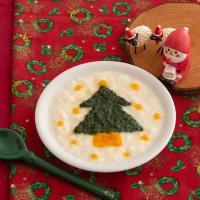 【離乳食中期】クリスマスパンがゆ