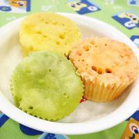 【離乳食後期】カラフルな3色蒸しパン