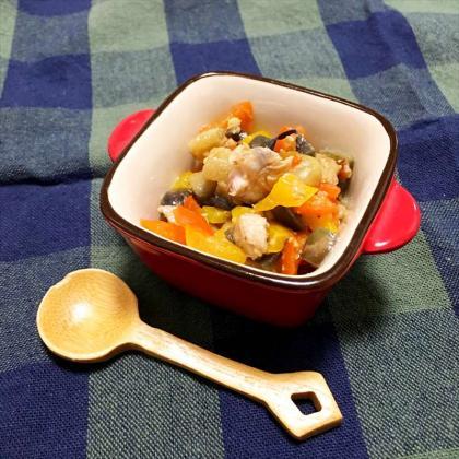 【離乳食完了期】茄子とパプリカ、鶏肉の味噌炒め