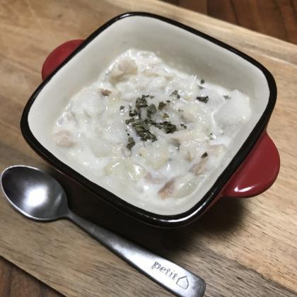【離乳食中期】里いもと白身魚のミルクスープ