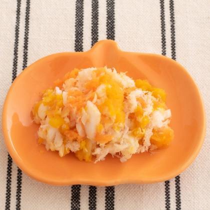 【離乳食中期】白身魚のかぼちゃ和え