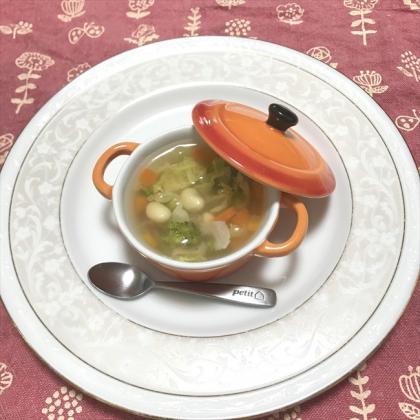 【離乳食後期】キャベツと大豆のコンソメスープ
