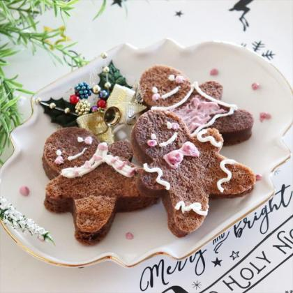 【離乳食完了期】クリスマス♡簡単ジンジャーブレッドマンプチケーキ