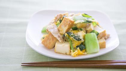 青梗菜と厚揚げのチャンプル