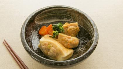 春野菜の高野豆腐肉詰め