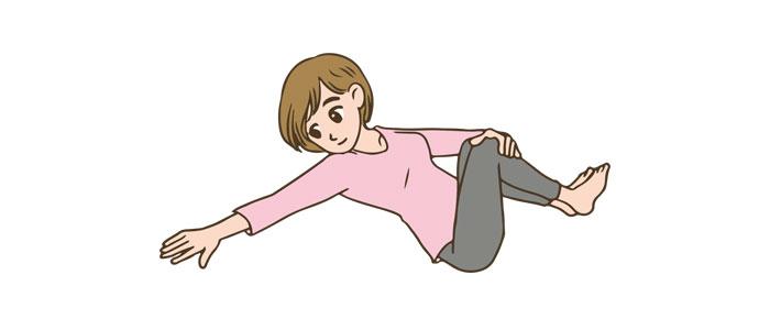 産褥体操 腰をひねる運動イメージ