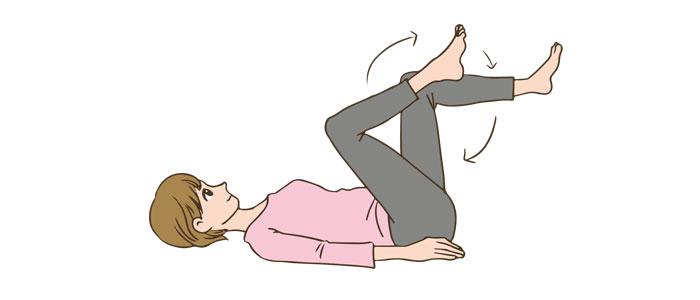 産褥体操 自転車乗り運動イメージ