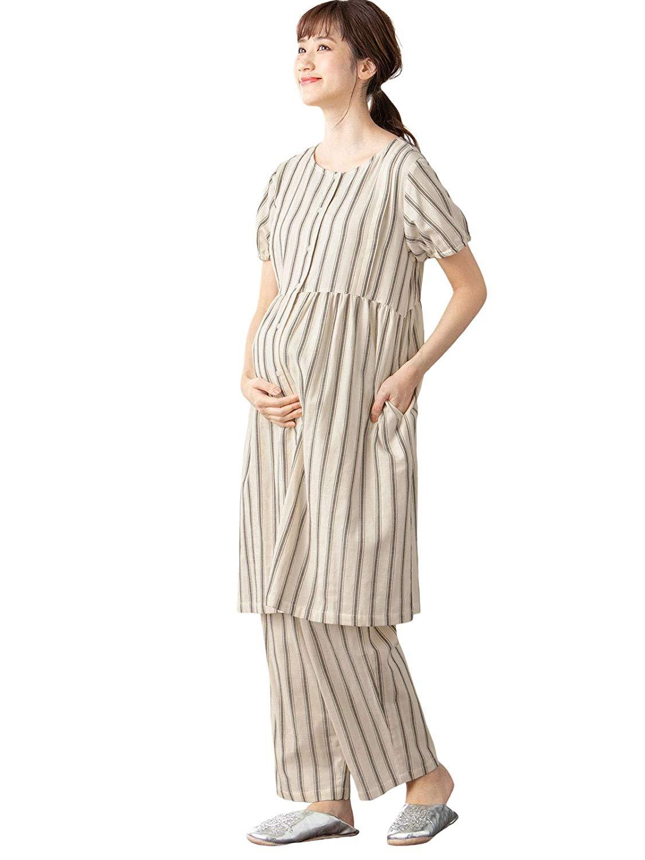 【授乳しやすい】【セット】ストライプダブルガーゼ半袖パジャマ