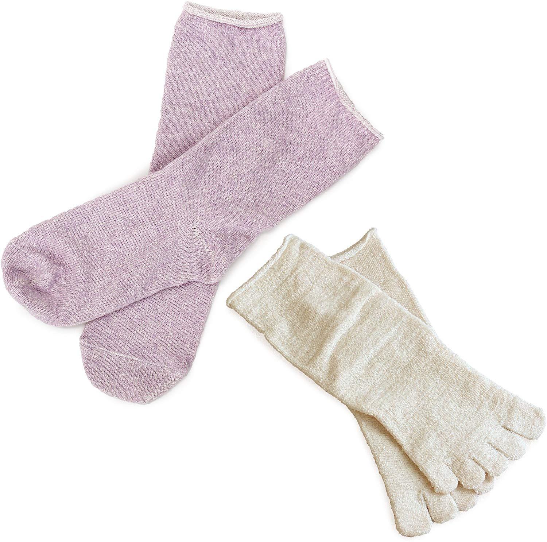冷えとり靴下 内絹外綿 2足セット