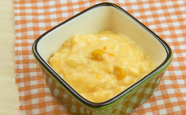 【離乳食後期】コーンクリームパン粥