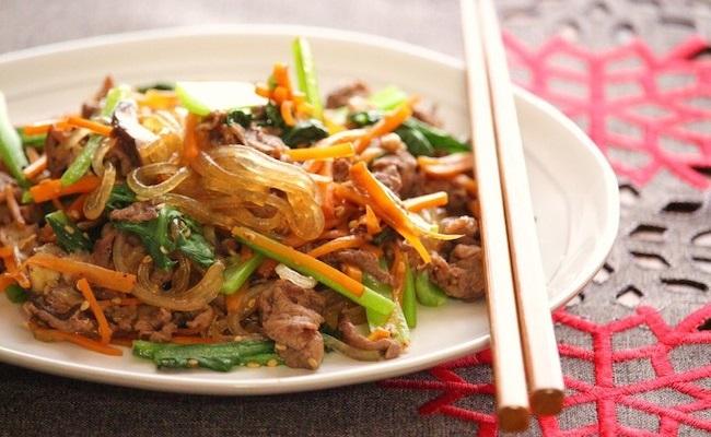 妊娠中に♪牛肉と小松菜チャプチェ