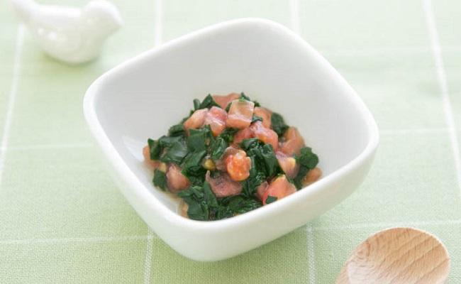 【離乳食後期】ほうれん草のトマト和え