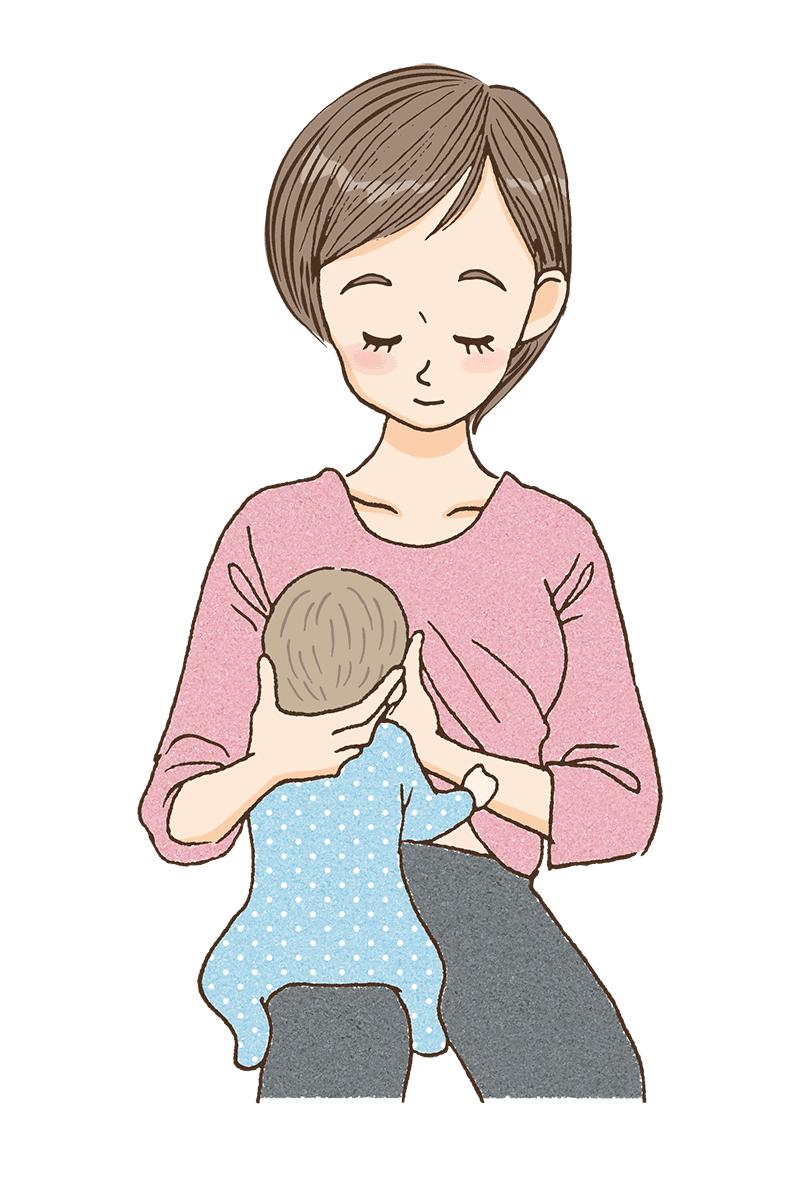 縦抱きで授乳しているママのイメージ