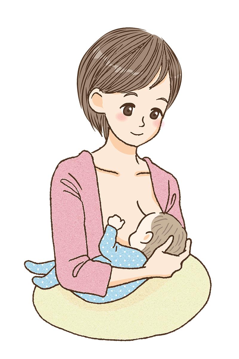 脇抱きで授乳しているママのイメージ