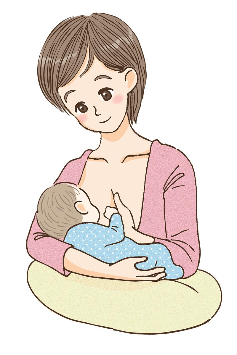 横抱きで授乳しているママのイメージ