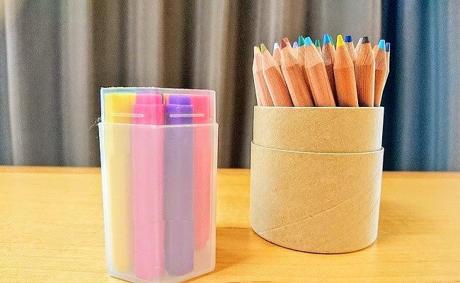無印良品「色鉛筆紙管入り・ハーフサイズ 36色・紙管ケース入り」「水性六角ミニカラーペンセット 10色」