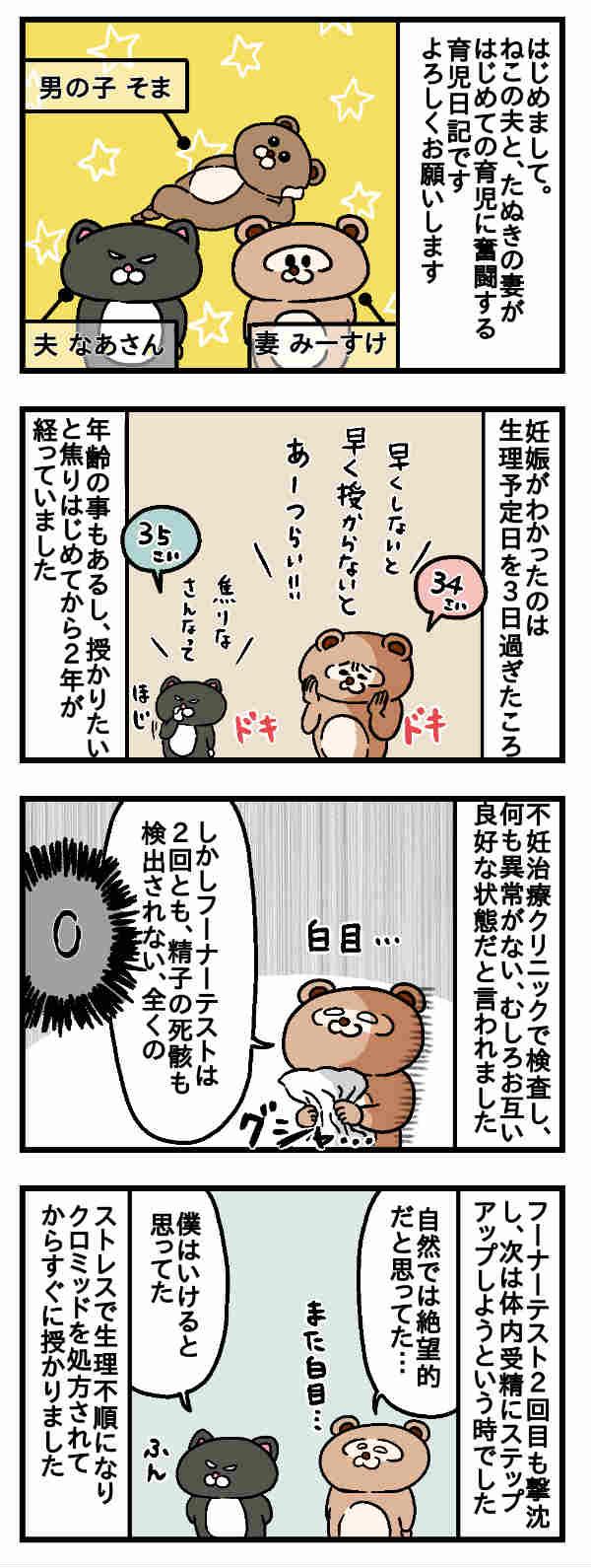 ねこたぬのはじめて育児/第一話