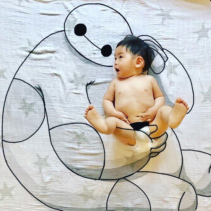 @yota7454さんの落書き赤ちゃんアート