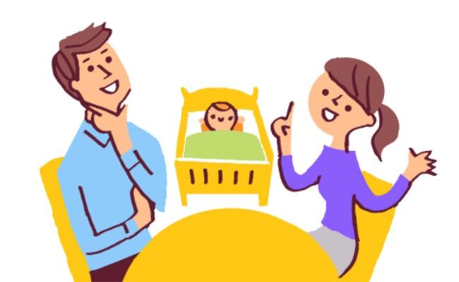 パパに育児の情報共有をするママのイメージ