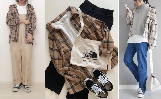 チェックシャツ&アウター