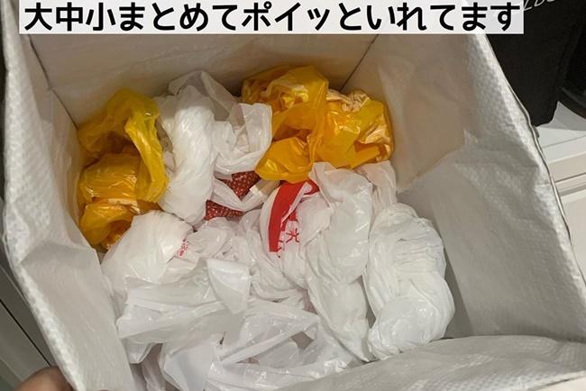 ダイソーのBOXにスーパーの袋を収納