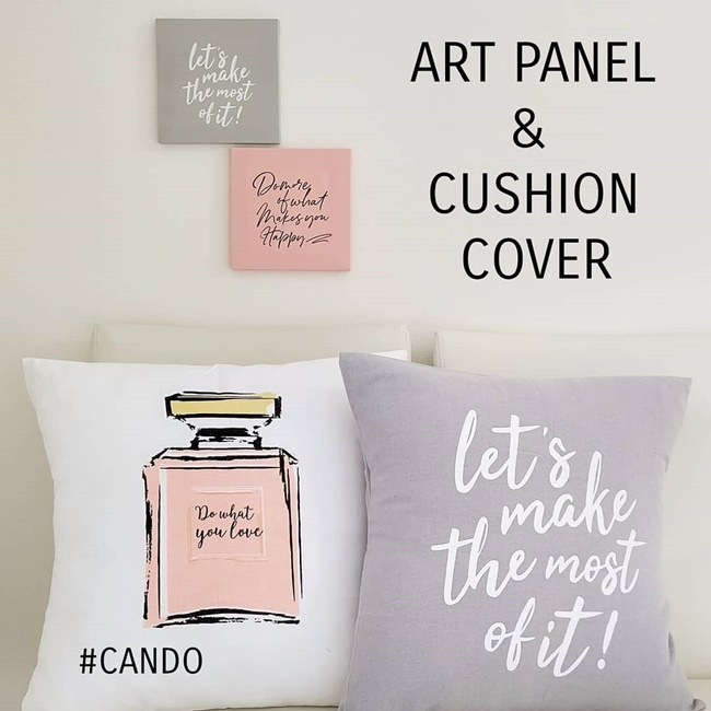 キャンドゥのアートパネルとクッションカバー