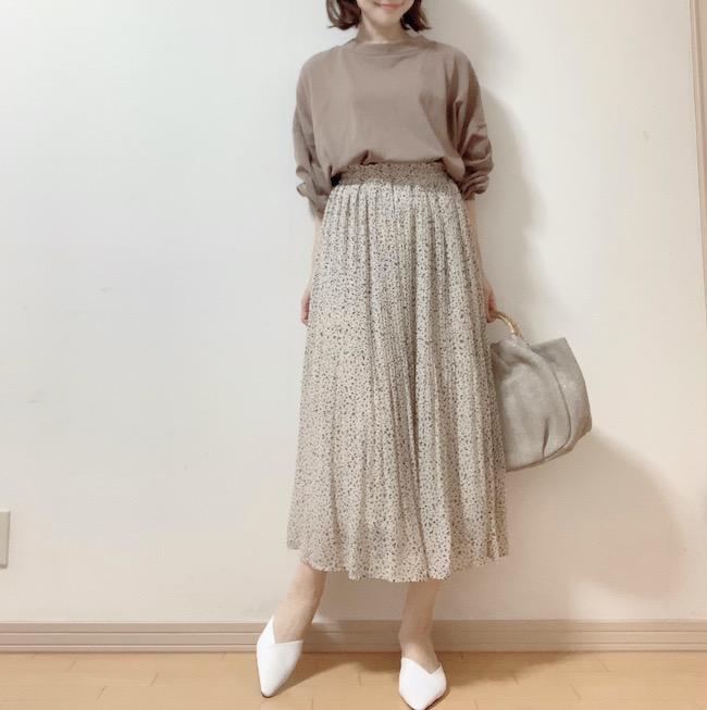 【しまむら】シフォンプリーツスカートコーデ