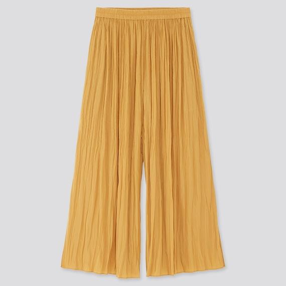ユニクロ ワッシャーサテンスカートパンツ
