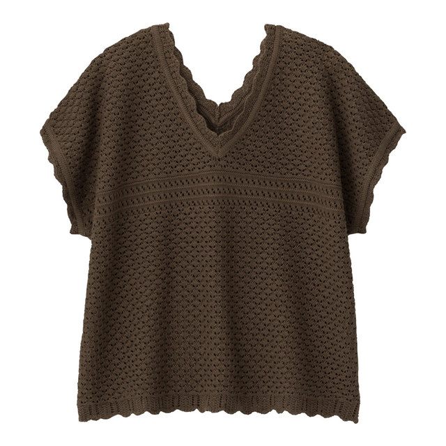 GU 透かし編みVネックセーター(半袖)Q