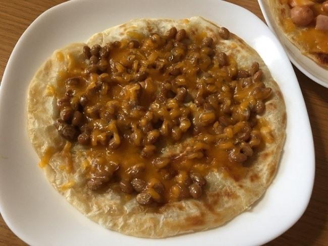 業務スーパー パラタアレンジ納豆+チーズ