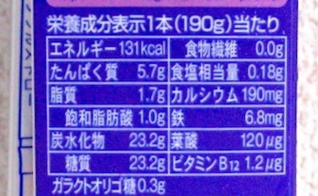 雪印メグミルク栄養成分
