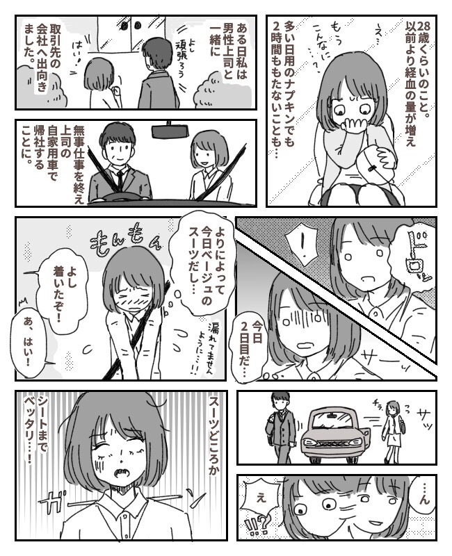 男性上司の車に経血ベットリ!