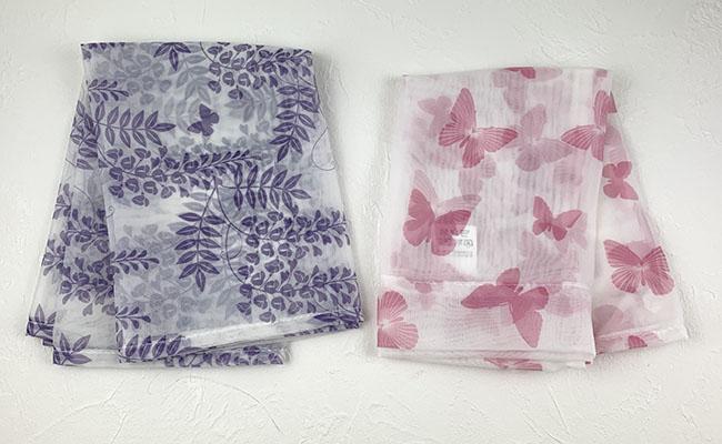 藤の花のフリークロスと蝶のカフェカーテン