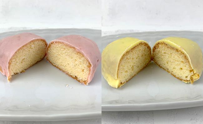 ダイソーのレモンケーキとストロベリーケーキ