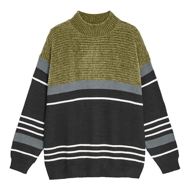 【GU】ローゲージコンビネーションモックネックセーター(長袖)