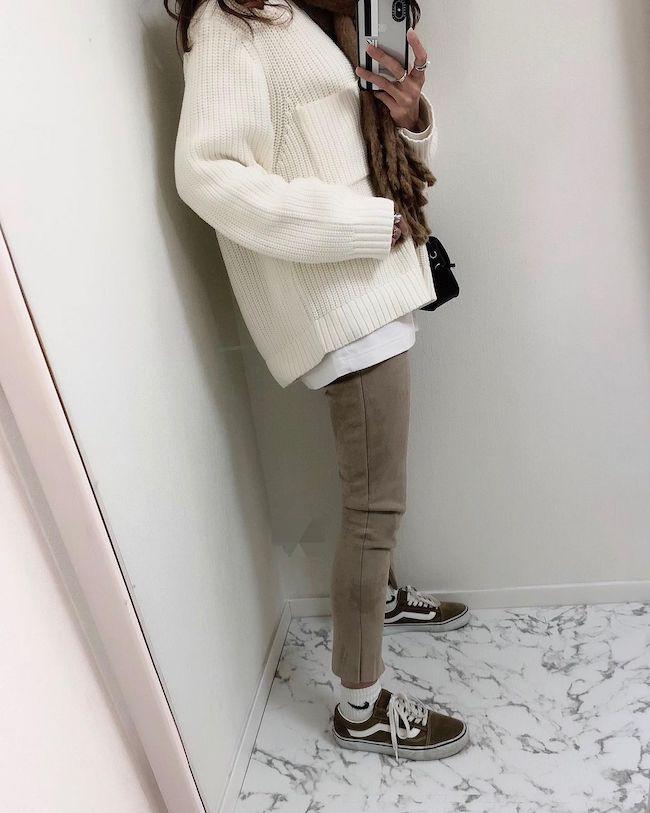 【GU】ローゲージワイドフィットクルーネックセーター(長袖)