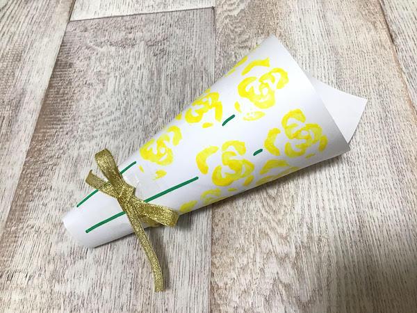 黄色いバラの花束スタンプ