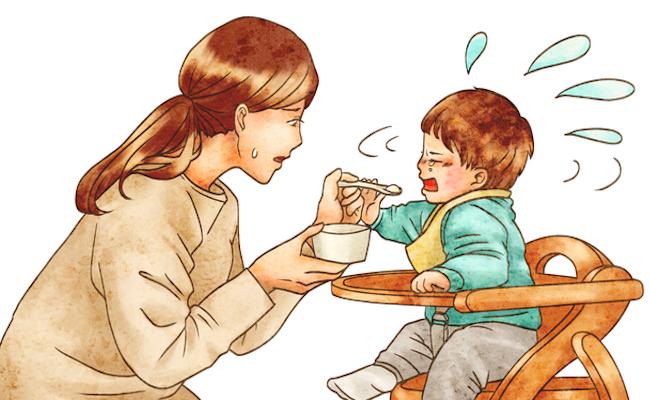 離乳食を食べてくれない赤ちゃんのイメージ