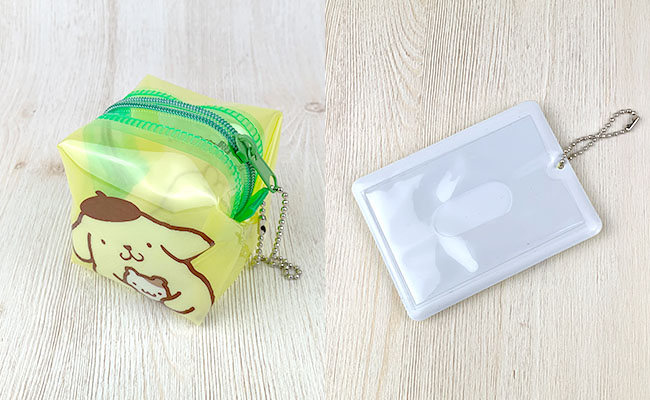 ポムポムプリンパスケースとビニールポーチキューブ型