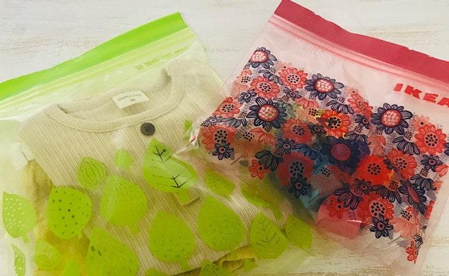 離乳食などをたくさん作って保存容器が足りないときは、この「ISTAD」に食品を入れて冷凍、そのままレンジでチンするだけなので、洗い物の手間が省けます。 何かと目を離せない離乳食の時期に役立ちました! 出かけるときも「ISTAD」に着替えやおもちゃを入れる事でカバンの中をスッキリとまとめられるので、子どもを連れておでかけするときによく使っています。 サイズやデザインも豊富なのでいろいろな種類を常備しています。私が購入したアソートタイプの物は50枚で税込み299円です。