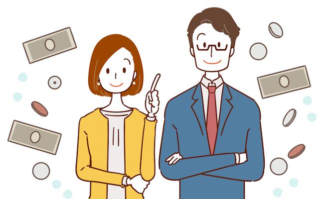 夫婦と助成金のイメージ