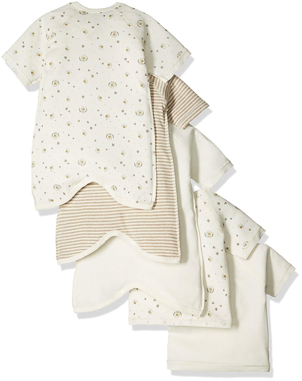 スキップハウスオーガニックコットンベビー新生児5枚組肌着セットみつばち柄