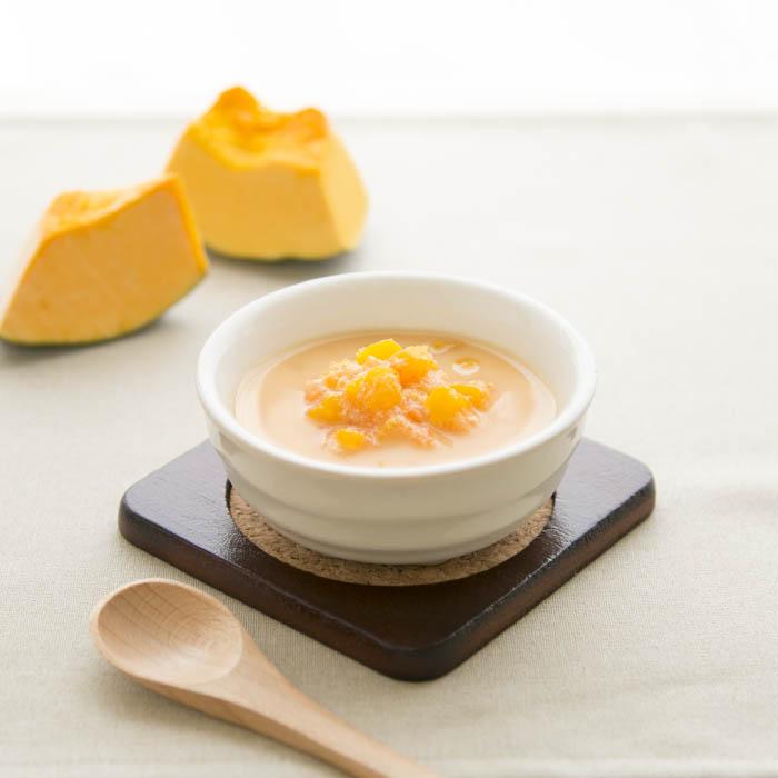 【離乳食中期】かぼちゃの味噌ミルクスープ