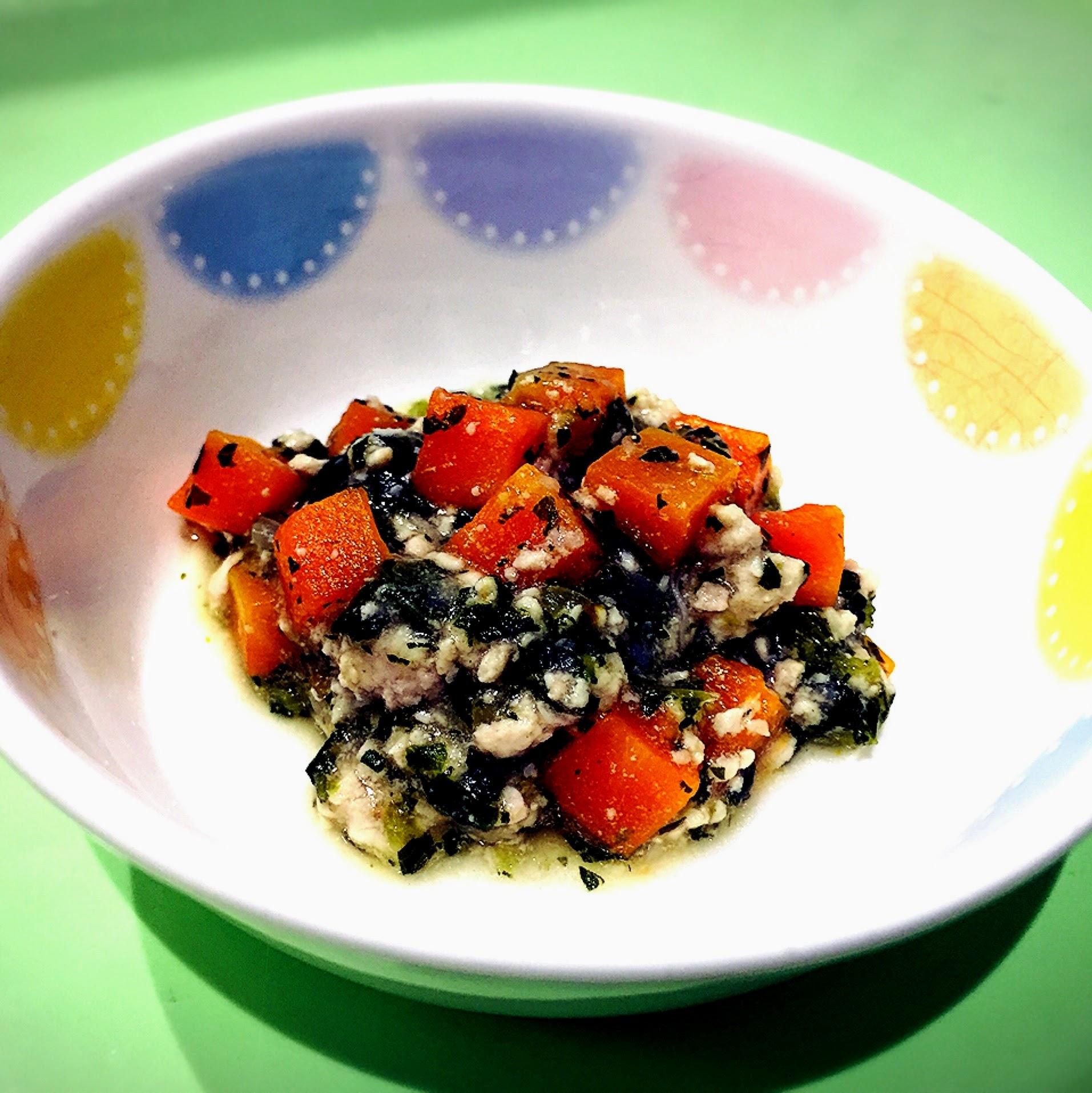 【離乳食後期】人参と小松菜のそぼろ煮