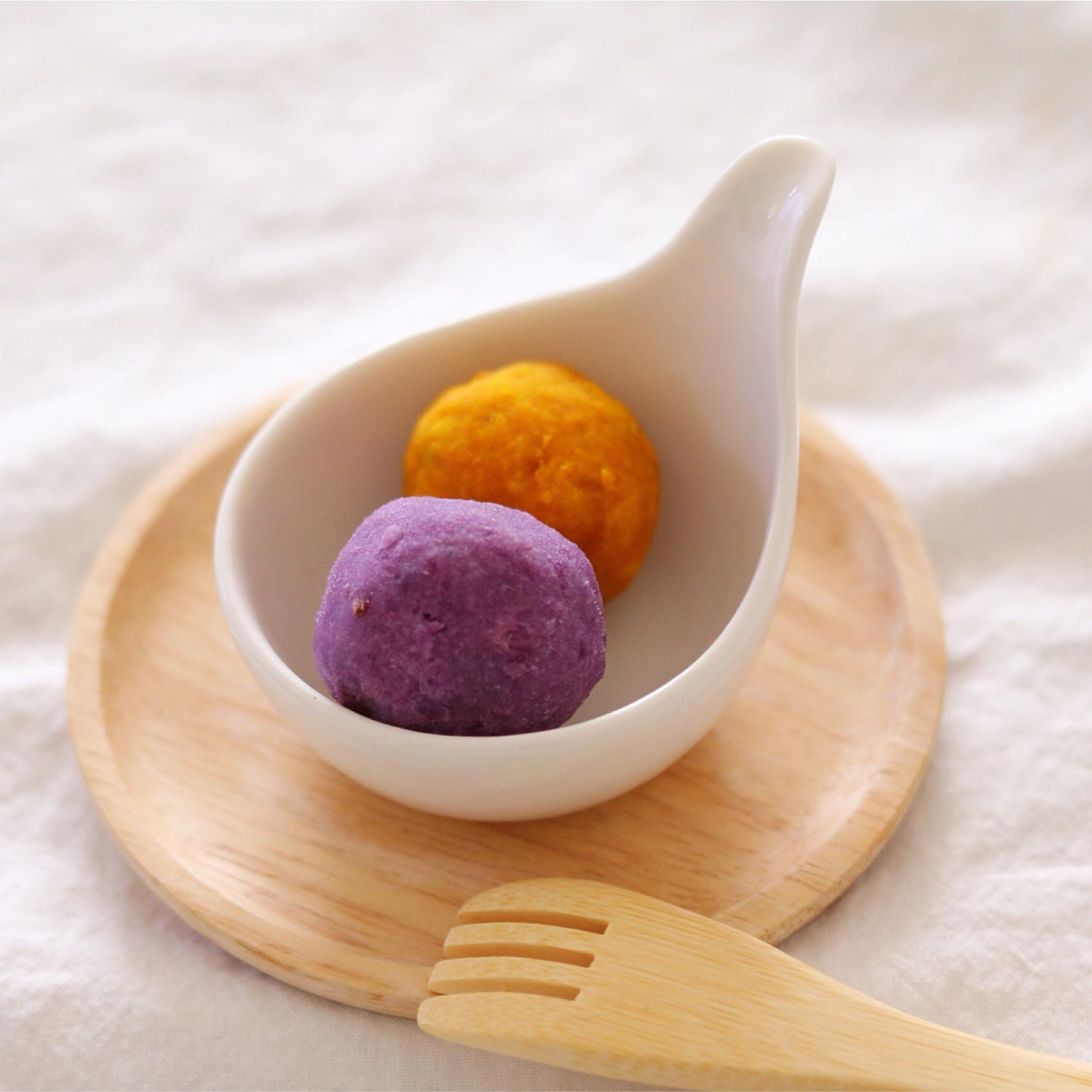 【離乳食完了期】紫芋とかぼちゃのマッシュボール