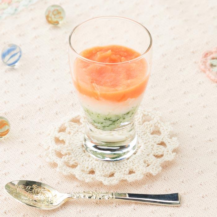 【離乳食中期】マッシュポテトのひしもち風(ひな祭り)