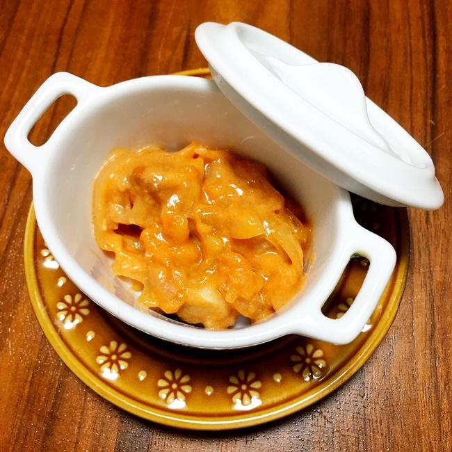 【離乳食後期】鶏肉のトマトクリーム煮