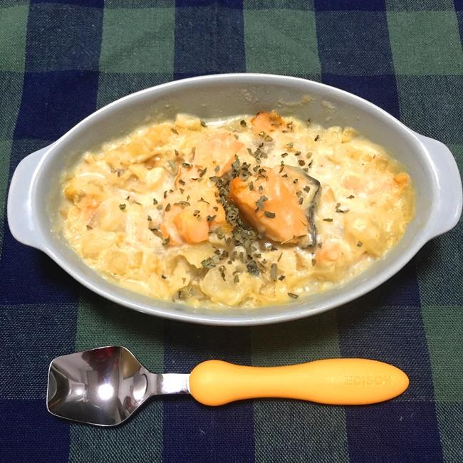 【離乳食後期】鮭とかぶの豆乳スープ