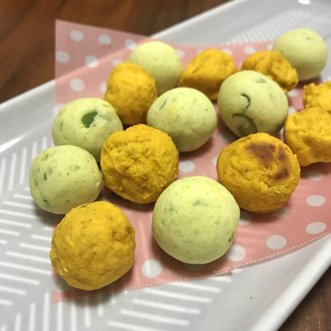 【離乳食中期】かぼちゃと枝豆のたまごボーロ