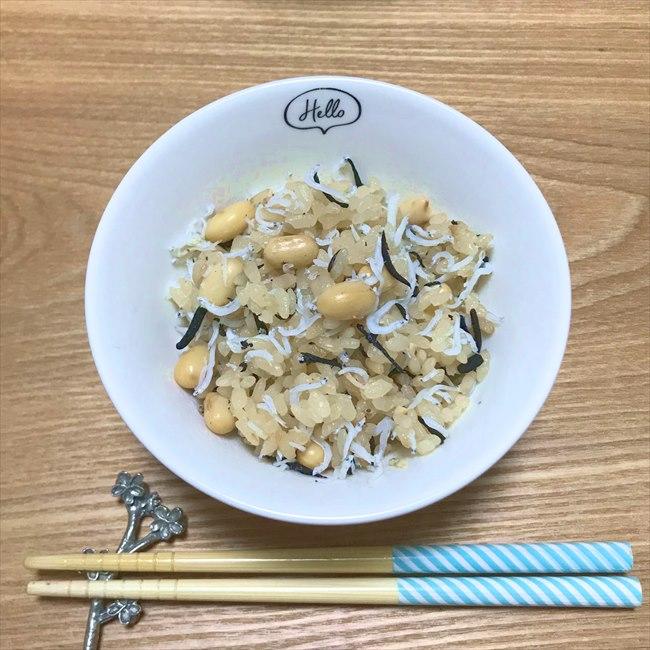 【離乳食完了期】大豆とひじきのしらすご飯